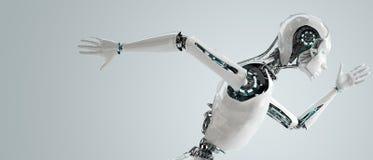 机器人机器人妇女赛跑 免版税图库摄影