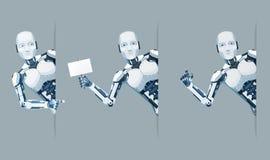 机器人机器人神色角落海报手联机帮助技术科幻未来销售3d设计传染媒介 皇族释放例证