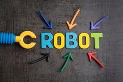 机器人概念替换的人的工作,指向t的多个箭头 库存照片