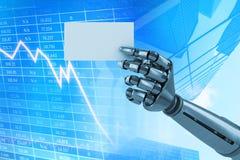 机器人武器储备白色招贴3d的综合图象的综合图象 免版税库存图片