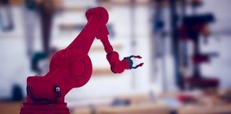 机器人爪的综合图象反对白色屏幕3d的 免版税库存照片