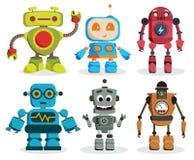 机器人玩具被设置的传染媒介字符 五颜六色的孩子机器人元素 向量例证
