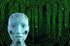 机器人电脑技术矩阵背景 免版税图库摄影