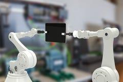 机器人的综合图象的综合图象有计算机片剂的3d 图库摄影