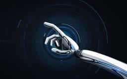 机器人移交黑背景 免版税库存图片