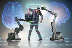 机器人胳膊被操作的商人 免版税库存图片