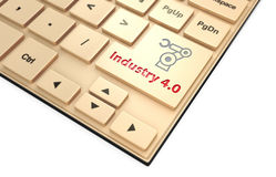 机器人胳膊象和词产业4 0在键盘 产业的4概念 库存照片