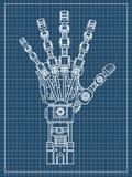 机器人胳膊 这个传染媒介例证使用作为例证机器人学想法的,人工智能,利用仿生学 库存图片