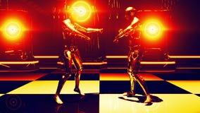 机器人舞蹈金子 向量例证