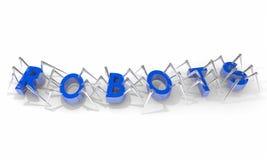 机器人蜘蛛走的词 免版税库存图片