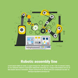 机器人装配线工业自动化产业生产网横幅 免版税库存图片