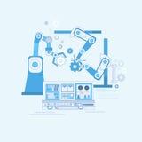 机器人装配线工业自动化产业生产网横幅 免版税库存照片