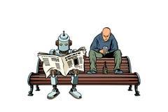 机器人读早报,一个醉酒的人其次坐 向量例证