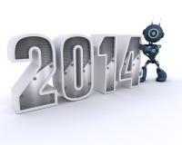 机器人迎接新年 免版税库存照片