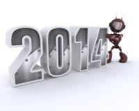 机器人迎接新年 免版税图库摄影