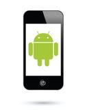机器人运行smartphones系统 库存照片