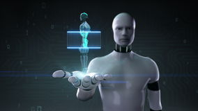 机器人靠机械装置维持生命的人开放棕榈,在机器人里面的扫描的人的骨骼结构 生物技术 人工智能 机器人技术 向量例证