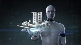 机器人靠机械装置维持生命的人开放棕榈,房地产应用,一个巧妙的电话的被修建的修造的城市,机动性,巧妙的垫,片剂 皇族释放例证