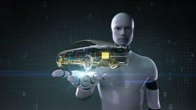 机器人靠机械装置维持生命的人开放棕榈,转动的汽车 汽车技术 主动轴系统,引擎,内部位子 X-射线 库存例证