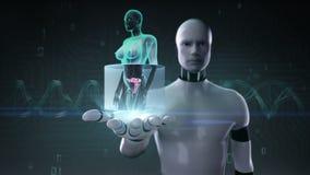 机器人靠机械装置维持生命的人开放棕榈,迅速移动的女性身体扫描子宫,蓝色X-射线图象 皇族释放例证