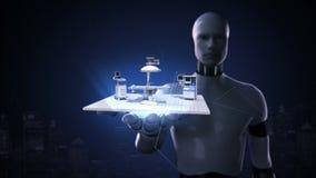 机器人靠机械装置维持生命的人开放棕榈,医院手术手术室医疗设备 远程诊断技术 没有墙壁 皇族释放例证