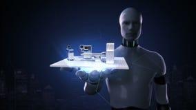 机器人靠机械装置维持生命的人开放棕榈,医院MRI扫描器,操作医疗技术 远程诊断技术 没有墙壁 皇族释放例证