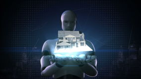 机器人靠机械装置维持生命的人打开两棵棕榈,房地产,被修建的房子 向量例证