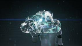 机器人靠机械装置维持生命的人接触了屏幕,许多小点会集创造云彩标志,低多角形网 库存例证