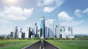 机器人靠机械装置维持生命的人站立在高途中的,路 修造大厦 做都市风景 人工智能 向量例证