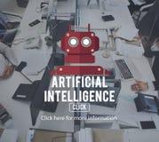 机器人靠机械装置维持生命的人AI机器人学机器人概念 免版税图库摄影