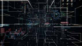 机器人靠机械装置维持生命的人感人的多角形脑子,连接在数字显示的数字线路,扩展人工智能线网隧道 向量例证