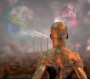 机器人,在烟雾填装了城市并且tearraformed在天空前的月亮 图库摄影