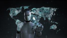 机器人,接触小点的靠机械装置维持生命的人会集创造全球性世界地图,事互联网  财政技术 1 库存例证