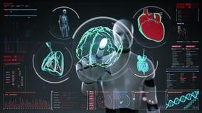 机器人,靠机械装置维持生命的人感人的数字式屏幕,扫描的脑子,心脏,肺,在数字显示仪表板的内脏 X-射线视图 向量例证