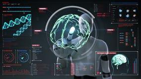 机器人,靠机械装置维持生命的人感人的数字式屏幕,类人动物,在数字显示仪表板的扫描的脑子 X-射线视图 库存例证