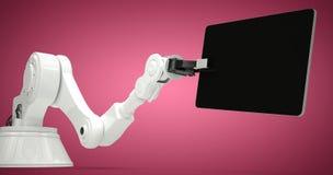 机器和数字式片剂的综合图象反对白色背景3d 库存图片