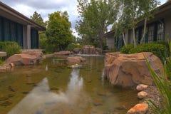 机器寿命、koi鱼和瀑布在一个池塘在南加州 免版税库存照片