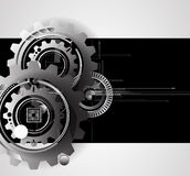 机器技术齿轮 减速火箭的大齿轮机制bacground 免版税库存照片