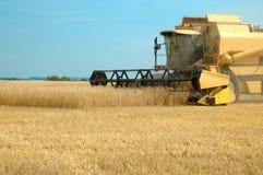 机器收割麦地 免版税库存照片