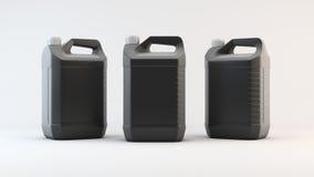 机器油的黑塑料罐 3d回报 库存照片