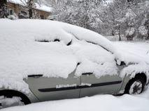 机器由雪盖 库存照片