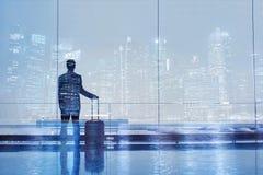 机场两次曝光,商务旅游 图库摄影
