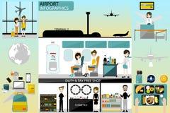 机场企业信息图表模板和旅行元素 在机场和工作者的活动在机场 免版税库存照片