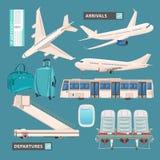 机场信息图表设置了与企业喷气机、乘客公共汽车、逗人喜爱的机场象和标志 免版税库存照片