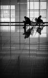 机场剪影 免版税图库摄影