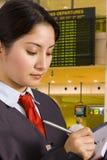 机场女实业家 库存照片
