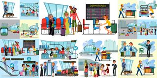 机场平的颜色象的人们设置了有旅行袋子的试验空中小姐游人在检查站和安全 库存例证