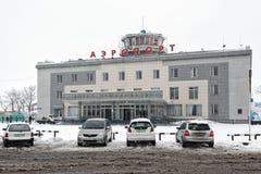 机场彼得罗巴甫洛斯克Kamchatsky市冬天视图  俄语远东,堪察加半岛 免版税库存图片