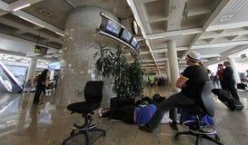 机场搁浅的乘客034 免版税图库摄影