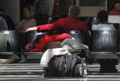 机场搁浅的乘客016 图库摄影